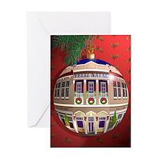 Um Ornamento de Feliz Natal/Vermelho Greeting Card