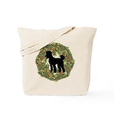 Poodle Xmas Wreath Tote Bag
