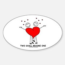 One Heart Oval Decal