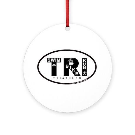 Thiathlon Swim Bike Run Ornament (Round)