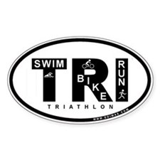 Thiathlon Swim Bike Run Oval Decal