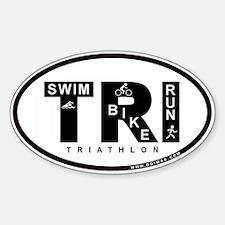 Thiathlon Swim Bike Run Oval Decal