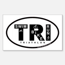 Thiathlon Swim Bike Run Rectangle Sticker 50 pk)