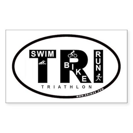 Thiathlon Swim Bike Run Rectangle Sticker