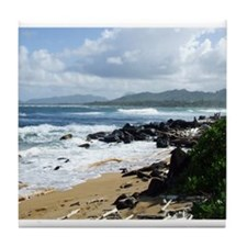 Beach at Kapaa Kauai Hawaii Tile Coaster