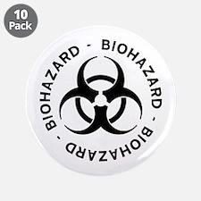 """Biohazard Symbol 3.5"""" Button (10 pack)"""