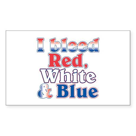 I Bleed Red White Blue Rectangle Sticker 50 pk)