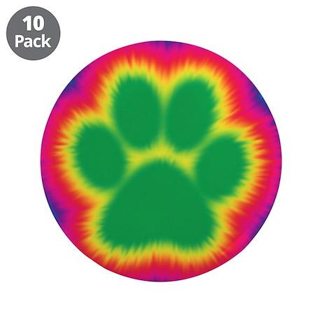 """Tye Dye Paw Print 3.5"""" Button (10 pack)"""