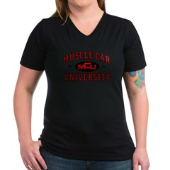 Muscle Car University Women's V-Neck Dark T-Shirt
