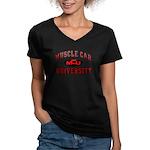 Muscle Car University Women's V-Neck Dark T-Shirt