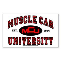 Muscle Car University Rectangle Sticker