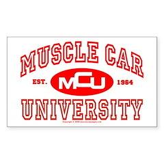 Musclecar University III Rectangle Decal