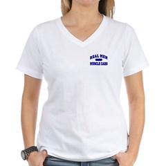 Real Men Drive Muscle Cars II Women's V-Neck Tee