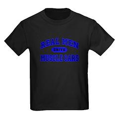 Real Men Drive Muscle Cars II Kids Black T-Shirt