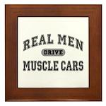 Real Men Drive Muscle Cars III Framed Tile