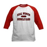 Real Women Drive Muscle Cars Kids Baseball Jersey