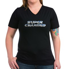 Super Charged Women's V-Neck Dark T-Shirt