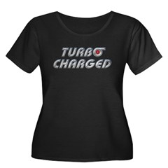 Turbo Charged Womens Plus Size Scoop Neck Dark Tee