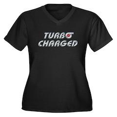 Turbo Charged Womens Plus Size V-Neck Dark T-Shirt