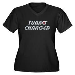 Turbo Charged Womens Plus Size V-Neck Dark T-Shirt