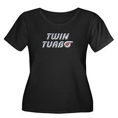 Twin Turbos Women's Plus Size Scoop Neck Dark Tee
