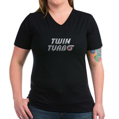 Twin Turbos Women's V-Neck Black Tee-Shirt