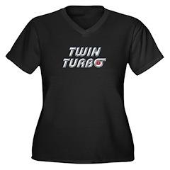 Twin Turbos Women's Plus Size V-Neck Dark T-Shirt