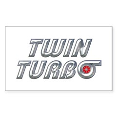 Twin Turbos Rectangle Decal