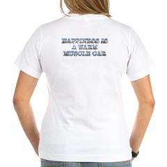 Happiness is a Warm Muscle Car Women's V-Neck Tee