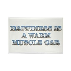 Happiness is a Warm Muscle Car Rectangle Magnet