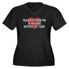 Happiness is...II Women's Plus Size V-Neck Black T