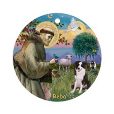 St Francis & Border Collie Reba Ornament (Roun