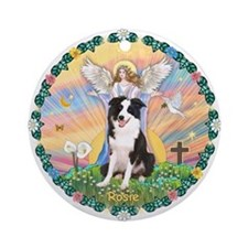 Angel Blessing Border Collie Rosie Ornament-Round