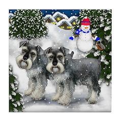 SCHNAUZER DOGS WINTER VILLAGE Tile Coaster