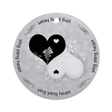 Heart lace / ying yang Ornament (Round)