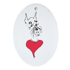 Schnauzer Love Lover Oval Ornament