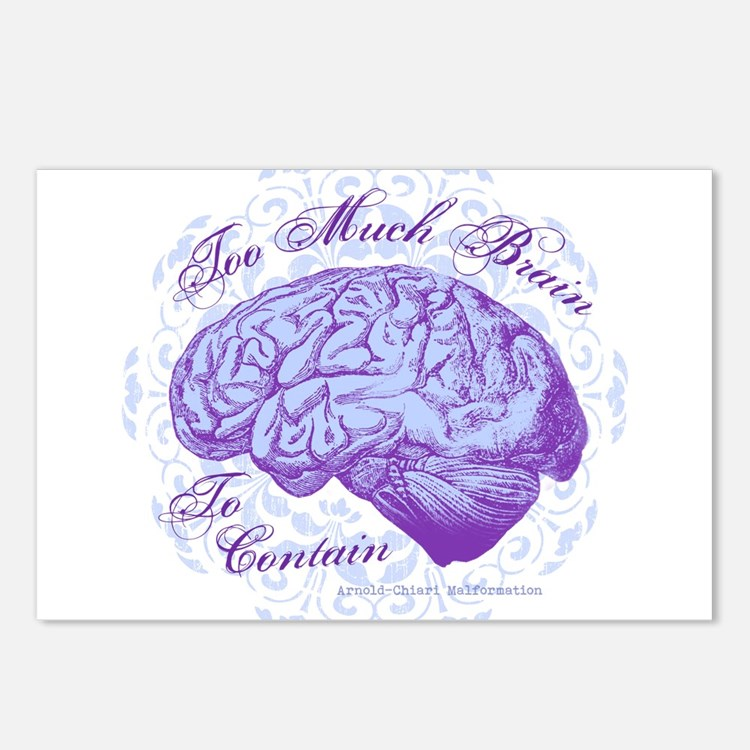 Too Much Brain to Contain Postcards (Package of 8)