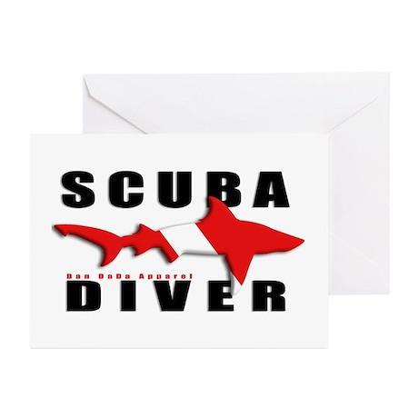 Scuba Diver: SHARK Greeting Cards (Pk of 10)