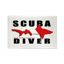Scuba Diver: SHARK Rectangle Magnet