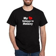 My Heart: Melany Black T-Shirt