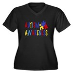 Autism Awareness Women's Plus Size V-Neck Dark T-S