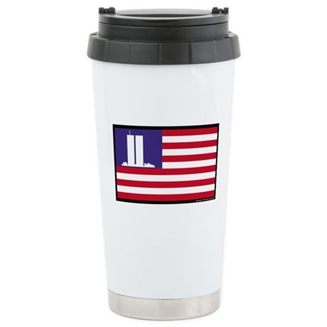 911 WTC Memorial Flag Stainless Steel Travel Mug