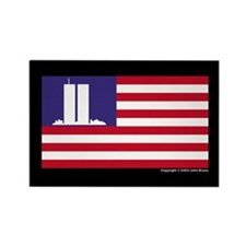 911 WTC Memorial Flag Rectangle Magnet (100 pack)