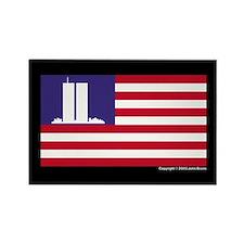 911 WTC Memorial Flag Rectangle Magnet