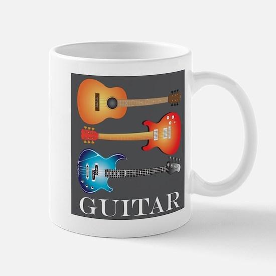 3 Guitars on Dark Gray Mug