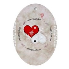 Vintage lace heart Oval Ornament