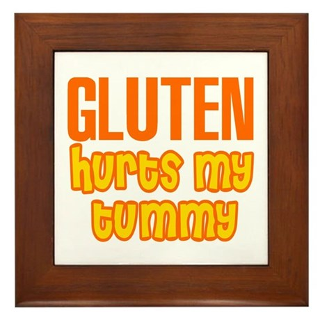 Gluten Hurts My Tummy Framed Tile