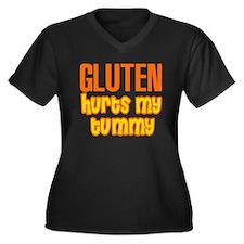 Gluten Hurts My Tummy Women's Plus Size V-Neck Dar