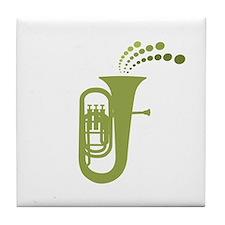 Green Retro Tuba Tile Coaster