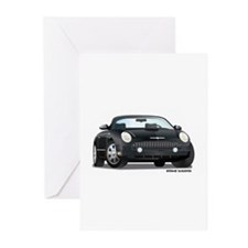 2002 05 Ford Thunderbird Blk Greeting Cards (Pk of